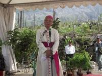 Mgr. J. Pujasumarta Pr memberi sambutan pd ceremonial PALM di Lereng Merapi
